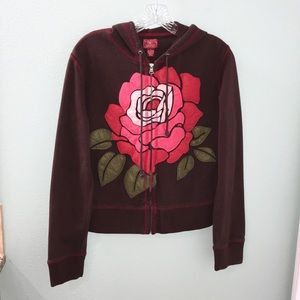 Lucky Brand Brown and Red Rose Zip Up Hoodie